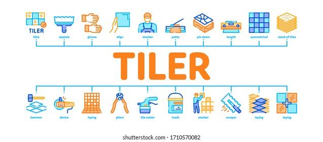 Tiler Work Equipment Minimal Infographic Web Banner Vector. Tiler Rectangular Notched Trowel And Electrical Tile Cutter, Level Tool And Grinder Illustrations