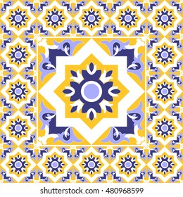 Tiles floor - vintage pattern vector with ceramic cement tiles. Big tile in center is framed in small. Background with portuguese azulejo, mexican, moroccan, spanish, arabic motifs.