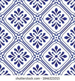 tiles pattern, seamless floral background, blue and white decorative wallpaper decor, Portugal ornament, Moroccan mosaic, pottery folk print, Spanish tableware, vintage tiled design, porcelain ceramic