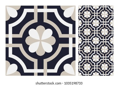 tiles Portuguese patterns antique seamless design in Vector illustration vintage