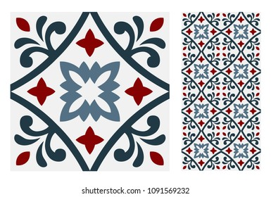 Tiles Portuguese vintage patterns antique seamless design in Vector illustration