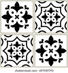 Tiles seamless monochrome collection, Portuguese or Spanish vector tile design