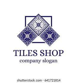 Tiles shop logo template design vector. Branding identity emblem with ceramic ornament for Spanish majolica store.