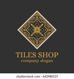 Tiles shop logo template design vector. Branding identity emblem with luxury ornament for Italian majolica ceramic store.