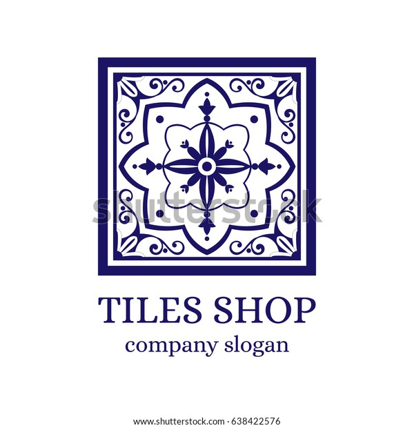 Tiles shop logo template design vector. Branding identity emblem with mosaic ornament for Portugal azulejos store.