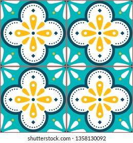Tiles vector pattern - Azulejo Lisbon retro old tile mosaic, Portuguese seamless design in turqouoise and yellow. Ornamental textile background inspired by Spanish and Portuguese traditional tiles