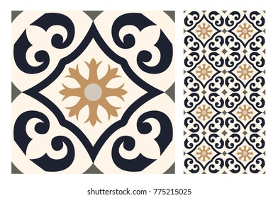 tiles vintage patterns antique seamless design in Vector illustration