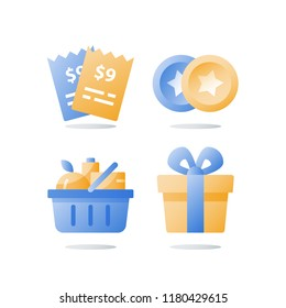 Till slip and full grocery basket, loyalty program, redeem reward gift, present box, earn bonus points, collect tokens, supermarket special offer, consumption incentive, vector flat icon