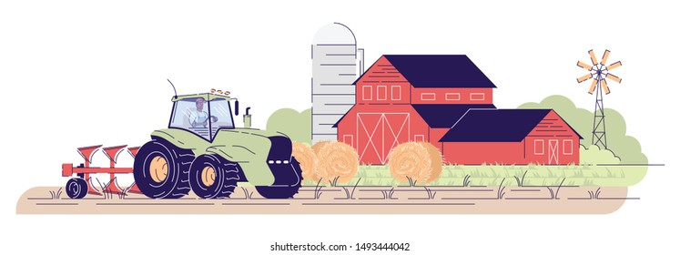Tillage, cultivation flat vector illustration. Farmer driving tractor on field near farm red barns. Farming cartoon concept with outline. Village farmland, rural ranch isolated on white background