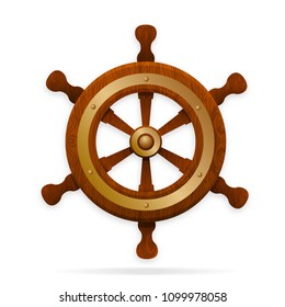 The tiller is the steering wheel of the ship. Wooden, with gold and bronze ornaments, forging. With soft shadows, isolated on white background.