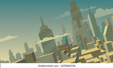 Tilted cartoon cityscape background with comics city.