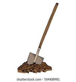 A tilted shovel with a wooden handle. Bayonet shovel. The spade stuck into the ground. Vector illustration.