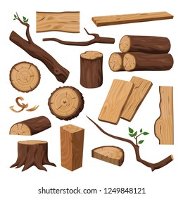 Timber or chopped wooden trunk, wood log and tree twig, lumber branch or carpentry, sawmill material, woodwork plank. Forest and construction, lumbering and forestry, plant theme