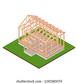 Timber frame house base construction design. Isometric concept. Wood frame under construction. Isolated object. Vector illustration.