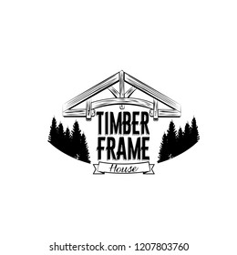 Timber frame house emblem. Vector design for logotype, label, badge, t-shirt or for other type of graphic. Woodwork vector illustration
