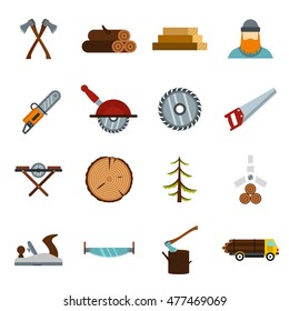 Timber industry icons set in flat style. Lumberjack equipment set vector illustration. Collection of lumberjack tools for web isolated