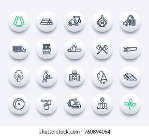 timber industry icons set, forest harvester, logging truck, forestry, chainsaw, lumber, sawmill