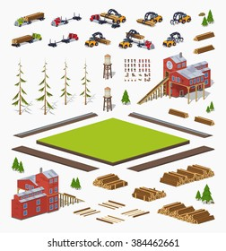Timber isometric infographic construction set. Build your own design