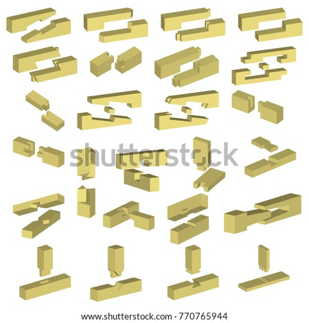 Timber Joints Various Types Wood Connections Stock Vector Royalty