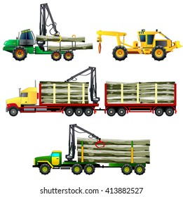 Timber wood trucks, forwarder and skidder forestry vehicles, side-view, flat style. Vector illustration. Isolated on white