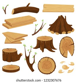 Timber wood trunk. Stacked firewood, logging tree trunks and pile of wood log, cracked oak or pine lumber. Woodcutter wood forest material cartoon isolated vector icons set