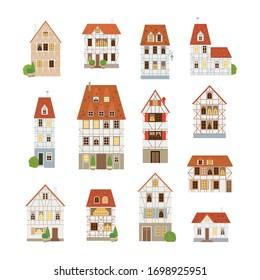 Timber-framed buildings set. Old houses. Europe