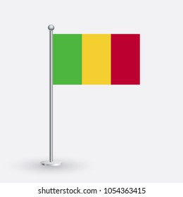 Timbuktu flag. The national flag of Timbuktu on a pole. The waving flag. The sign and symbol of the country. Realistic vector on white.