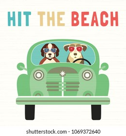 Time for adventure. Cute comic cartoon. Colorful humor retro style. Dogs go by retro car to beach fun leisure relax. Dog days of Summer time vacation journey. Vector tourist banner background template