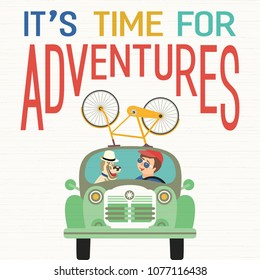 Time for adventure. Cute comic cartoon. Colorful humor retro style. Happy man, his canine go by retro car for fun leisure. Dog days of Summer time vacation journey. Vector banner background template