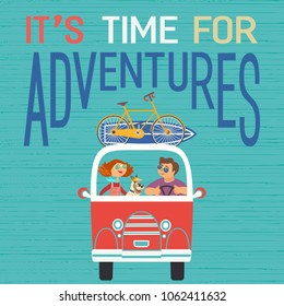 Time for adventure. Dog days of summer poster concept. Young happy travellers trip by van to beach. Family microbus journey. Vacation touring by auto. Cute cartoon. Colorful humor vector illustration
