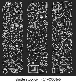 Time to adventure. Imagination creativity small children play nursery kindergarten preschool school kids drawing doodle icons pattern, play, study, learn with happy boys and girls Let's explore space