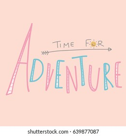 Time for adventure word lettering vector illustration