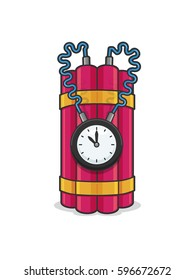 Time bomb with dynamite sticks and clock vector cartoon illustration