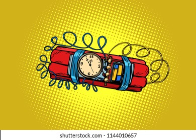 time bomb. explosive dynamite. Comic cartoon pop art retro vector illustration drawing
