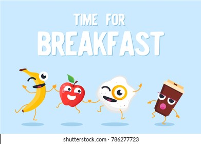 Time for breakfast - modern vector colorful illustration on blue background. Cute cheerful food and drink cartoon characters, banana, apple, omelette, a cup of coffee to go