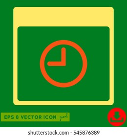 Time Calendar Page icon. Vector EPS illustration style is flat iconic bicolor symbol, orange and yellow colors.