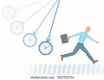 Time is catching up with a businessman. Conception of Deadline. Pocket watch on a chain. Vector illustration EPS-8.