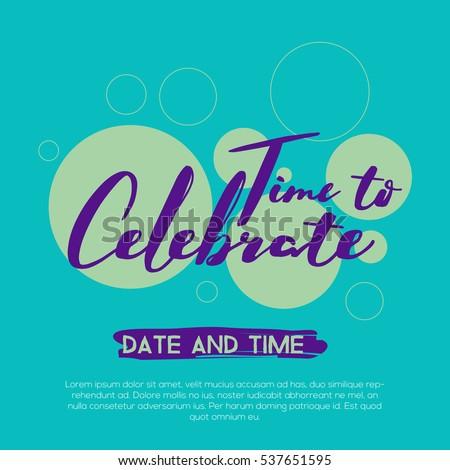 Time Celebrate Celebration Concept Beautiful Colors Stock Vector