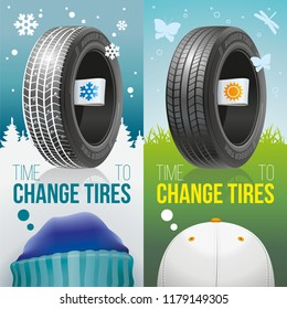 It is time to change automobile tires on a season! Two colourful advertizing banners of winter and summer tires with labels of seasons.