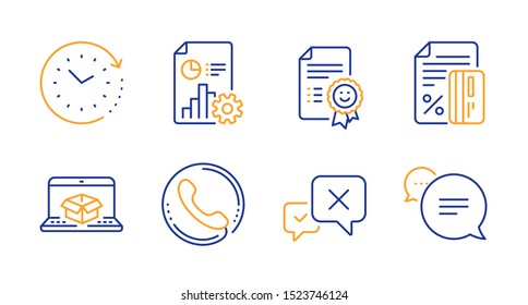 Time change, Report and Credit card line icons set. Reject, Call center and Smile signs. Online delivery, Text message symbols. Clock, Presentation document. Technology set. Vector