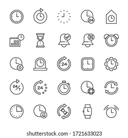 Time and clock 25 line icons vector