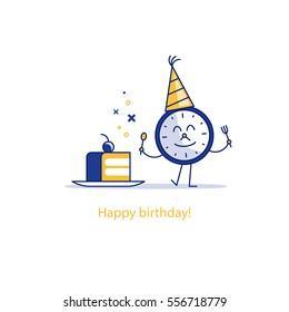 Time clock and cake on plate. Birthday celebration. dessert treats. Good morning. Happy hour concept. Flat design vector illustration.