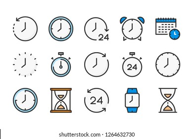 Time and clock color line icons. Alarm and timer vector linear colorful icon set. Isolated icon collection on white background.