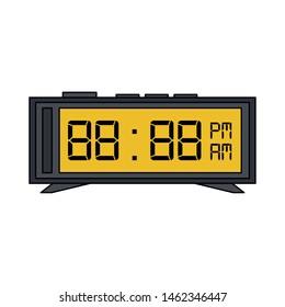 time clock digital flat watch alarm cartoon vector illustration graphic design