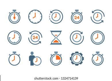 Time and clock flat icons. Alarm and timer vector colorful icon set. Isolated icon collection on white background.