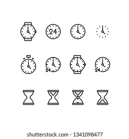 Time and clock golden ratio line icons. Alarm and timer vector linear monocolor icon set. Isolated icon collection on white background.