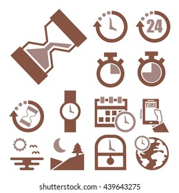 time, clock icon set