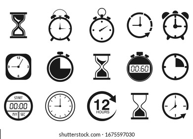 Time and clock icon set. isolated on white, vector Illustration