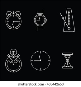 Time and Clock icons on black background. Vector illustration.