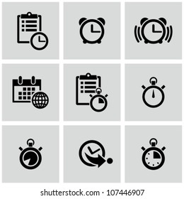 Time clock icons set.